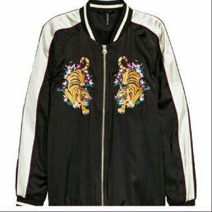 H&M Black Satin Tiger Embroidered Bomber Jacket